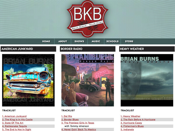 Brian Burns Music Website