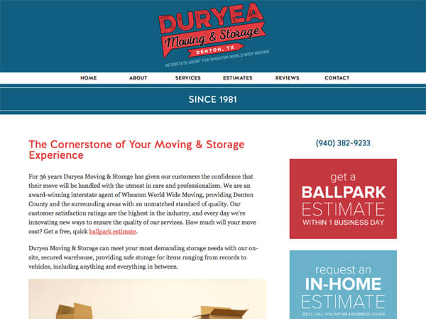Duryea Moving & Storage Website